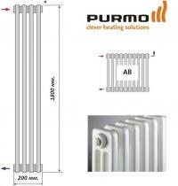 3180 AB вертикальные радиаторы Purmo, подключение сбоку